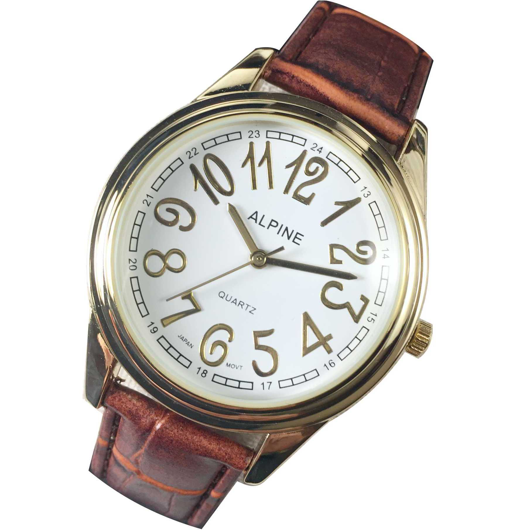 Mens Band Watch - Brown Leather with Gold