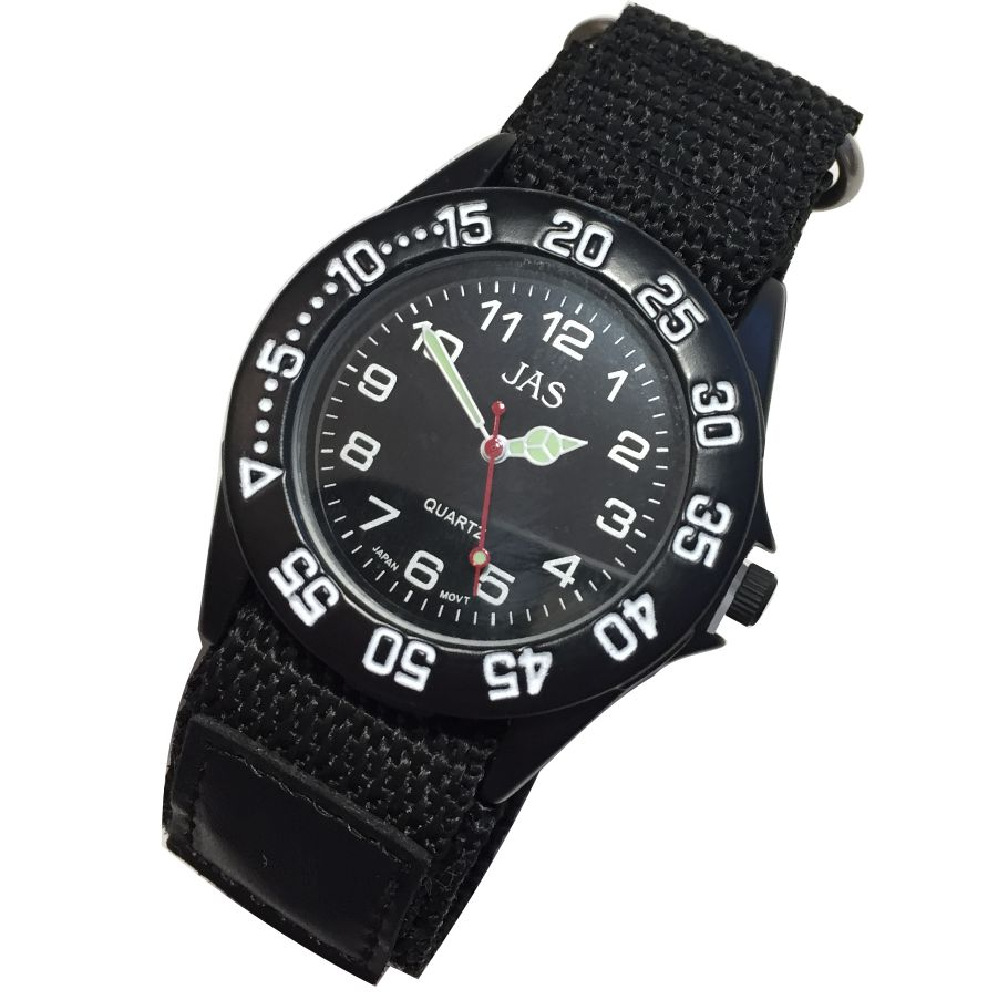 Mens Band Watch -Black Canvas Sport Analog