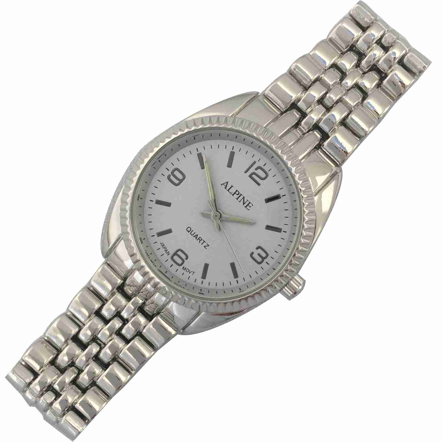 Mens Bracelet Watch - Silver/White Dial