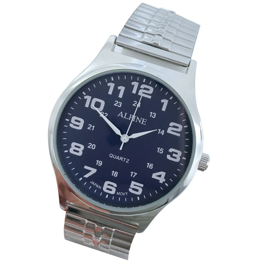 Mens Band Watch - Trendy Silver/Navy Expansion