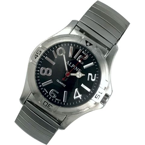 Mens Band Watch - Bold Silver/Black Dial Expansion