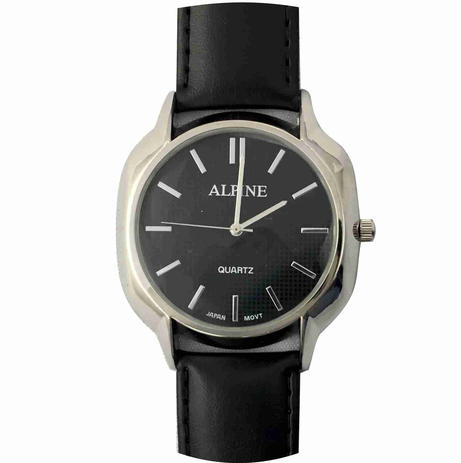 Mens Band Watch - Contemporary Black Leather/Black Dial