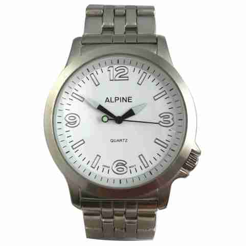 Mens Bracelet Watch - Large Silver