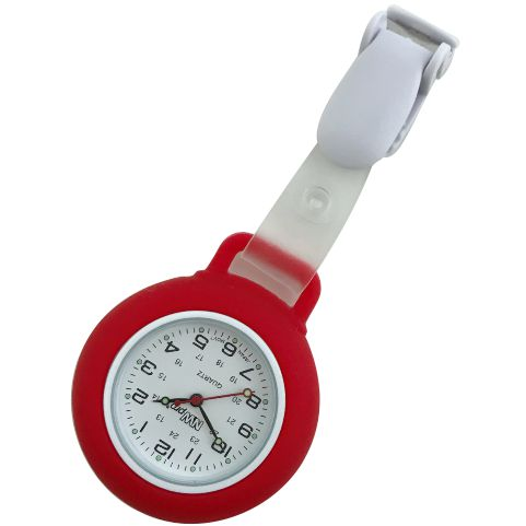 Nurse Pin Watch Clip-On Silicone Red