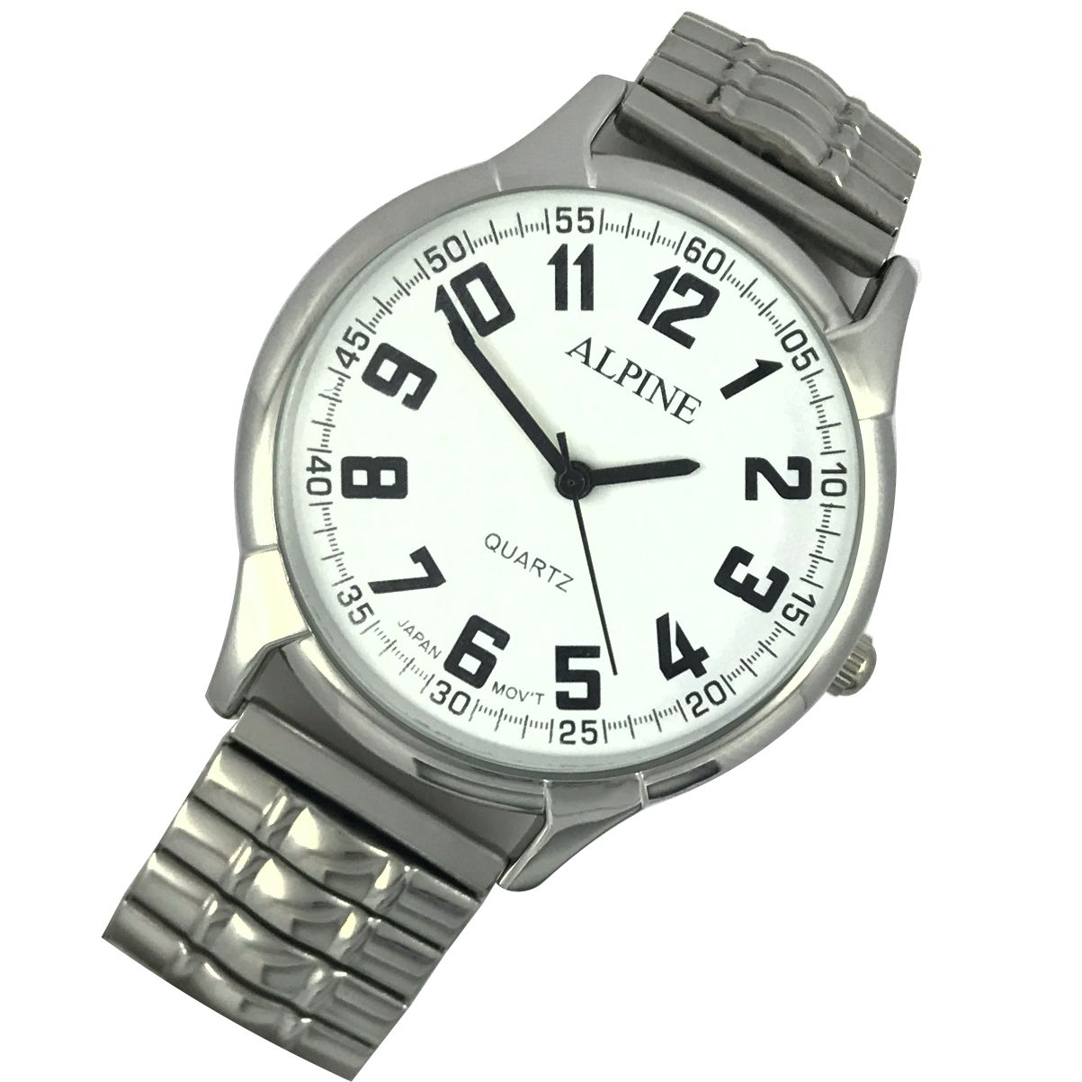 Mens Bracelet Watch Stretch Expansion Geo Silver