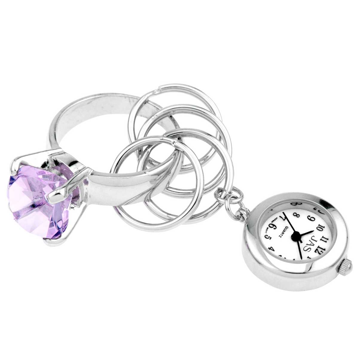 Keychain Clock Bling Ring Violet