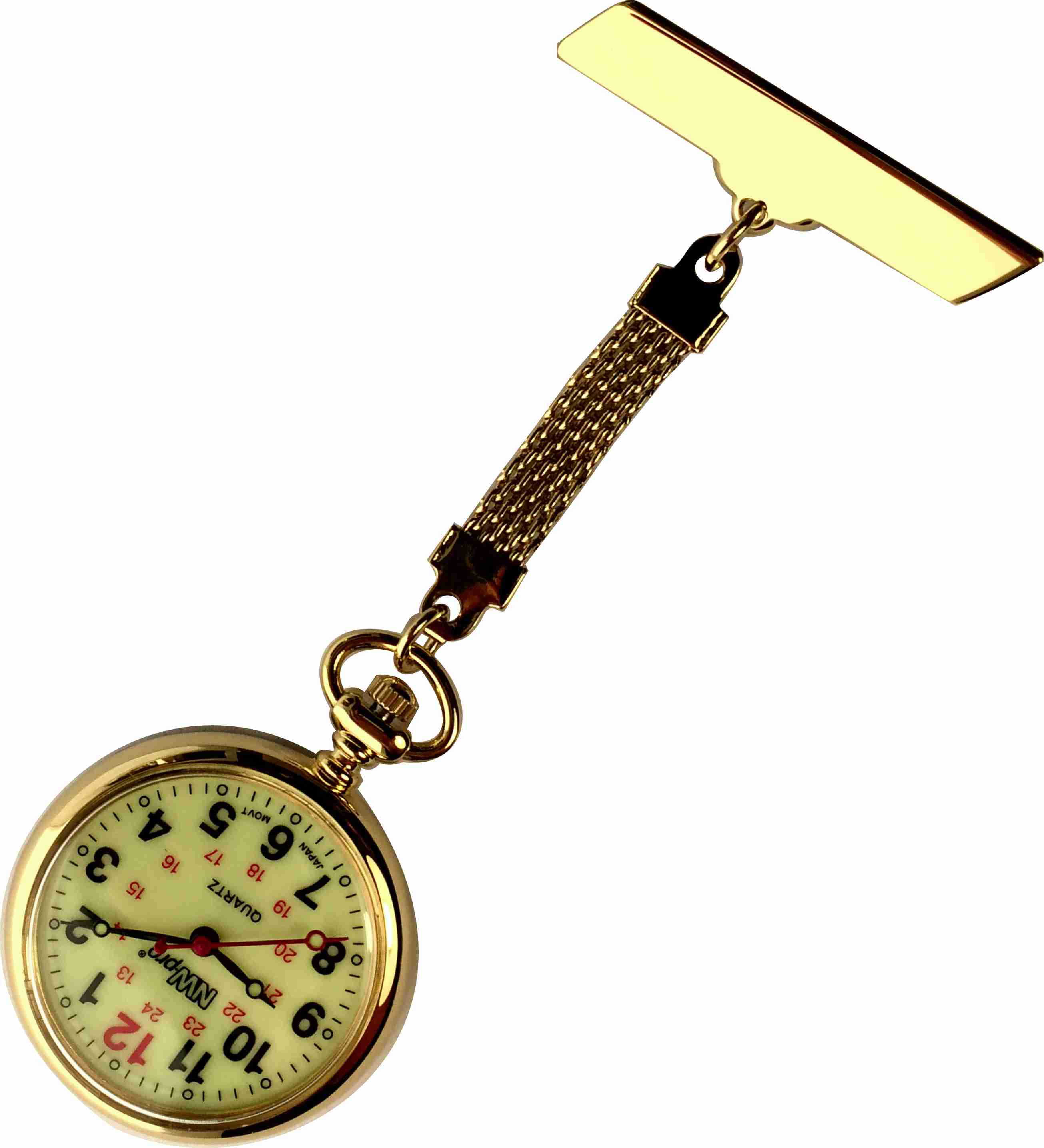 Nurses Pinned Watch - Nw-pro Braided - Gold - Luminous