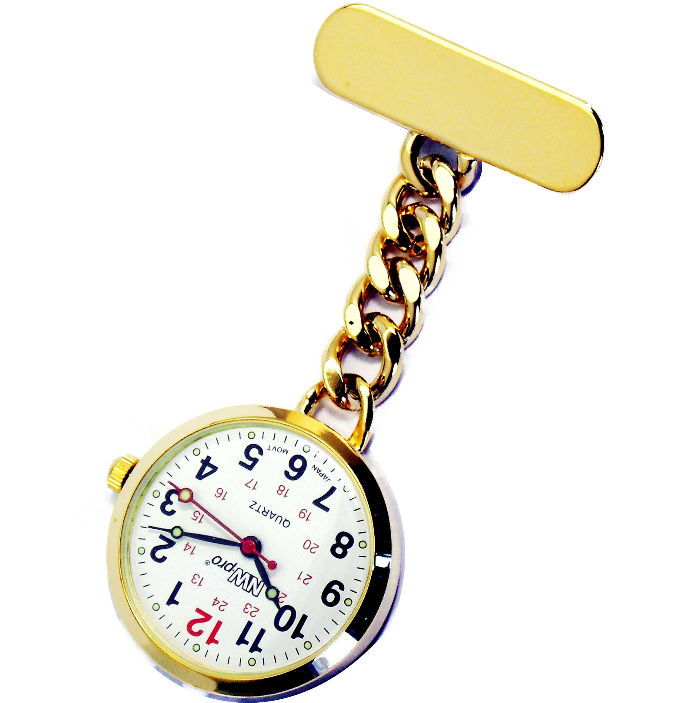Nurses Pinned Watch - Nw-pro Chain - Gold - White