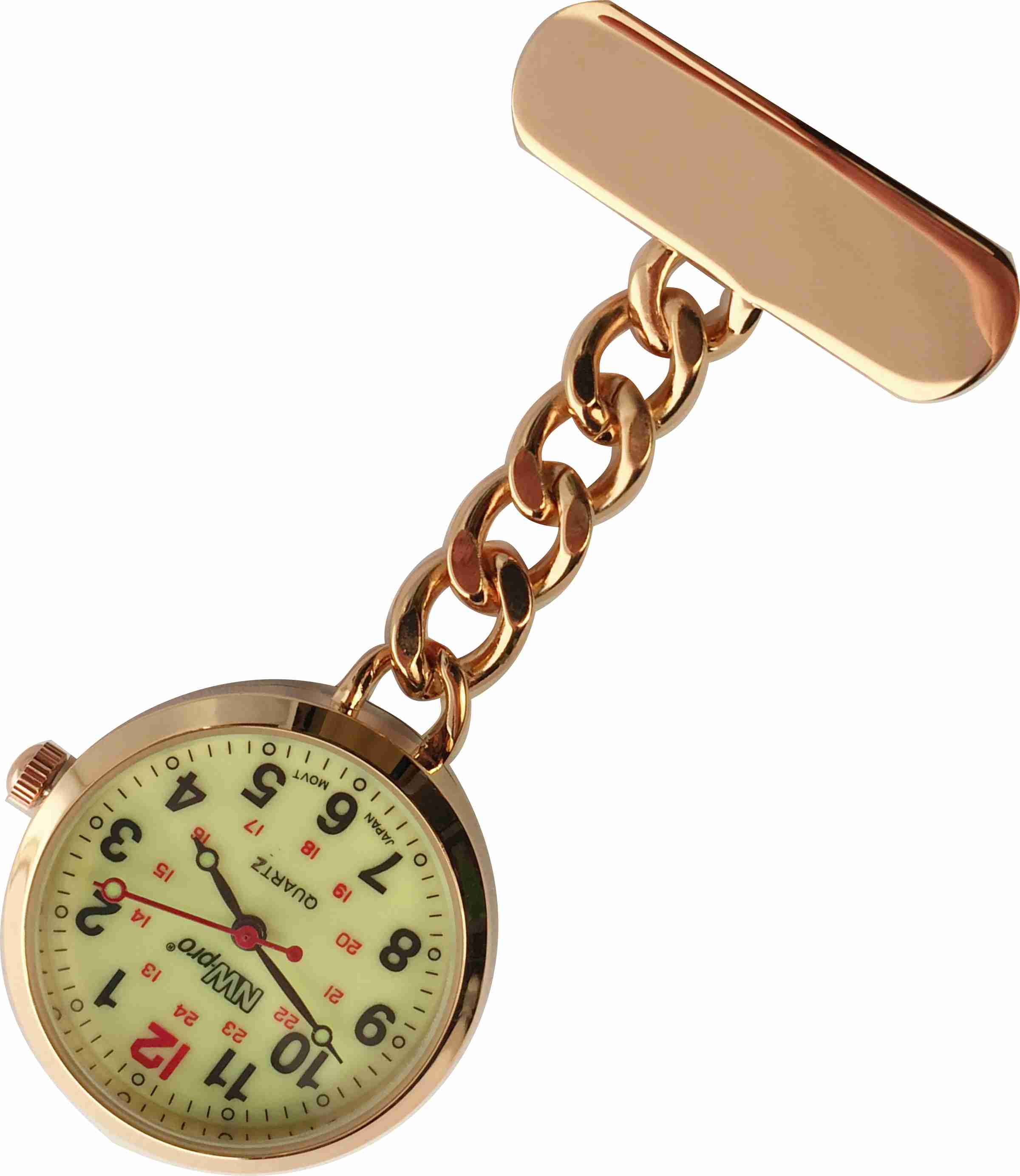 Nurses Pinned Watch - Nw-pro Chain - Rose Gold - Luminous