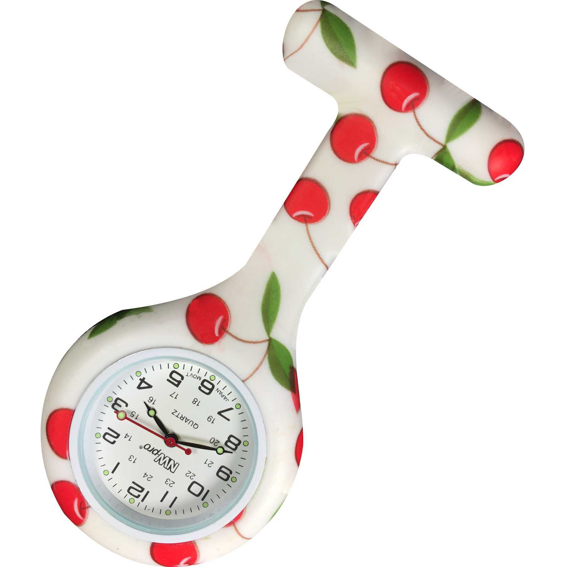Nurse Pin Watch Silicone Printed Cherry